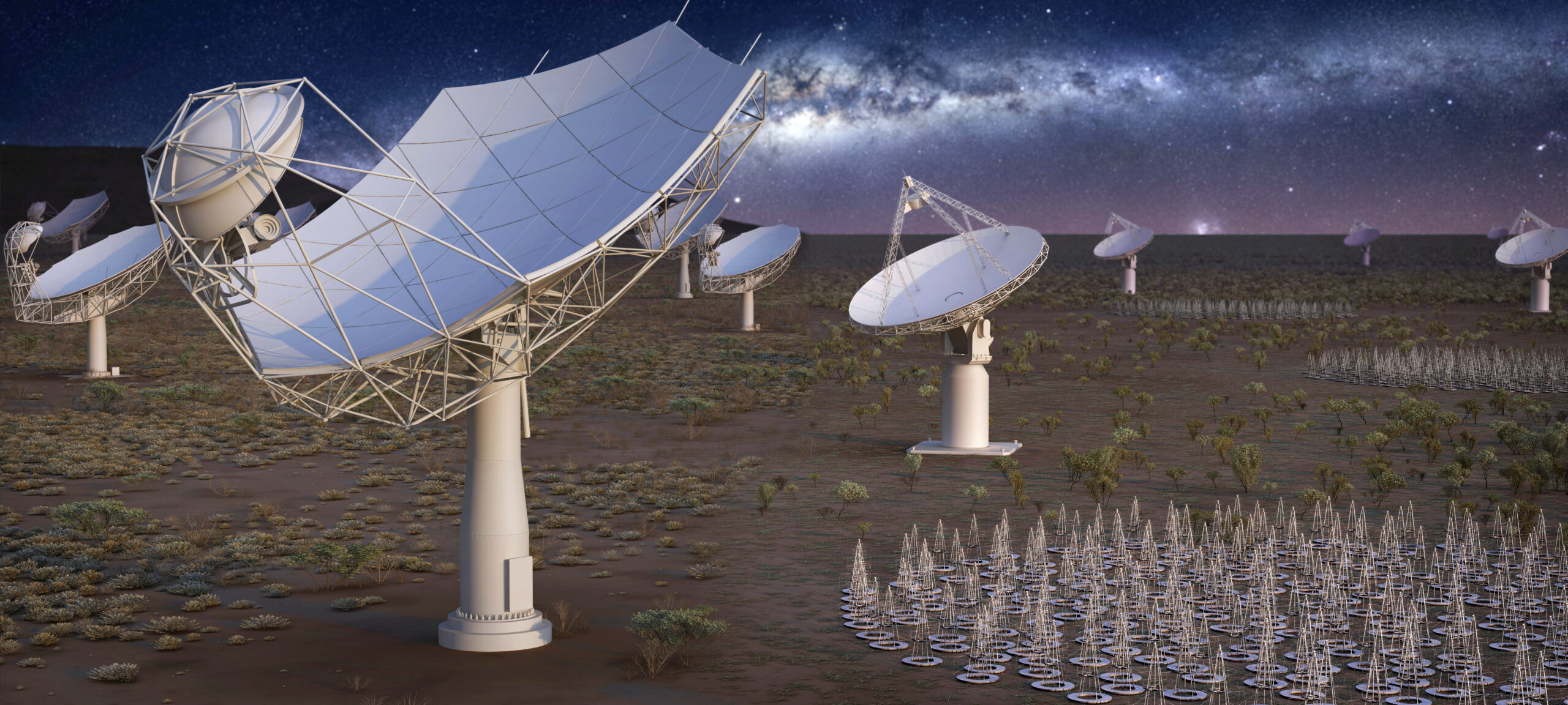 An artist's impression of SKA at night